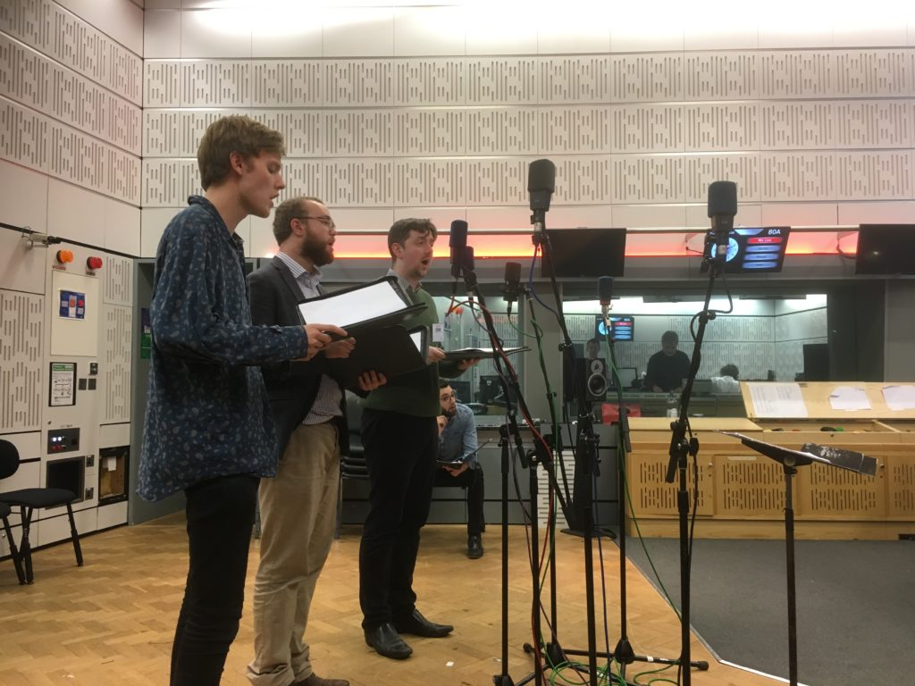 The lads rehearse 'There is no Rose' from the Trinity Carol Roll in the Radio 3 studio. Featuring Alex's now-famous-shirt.