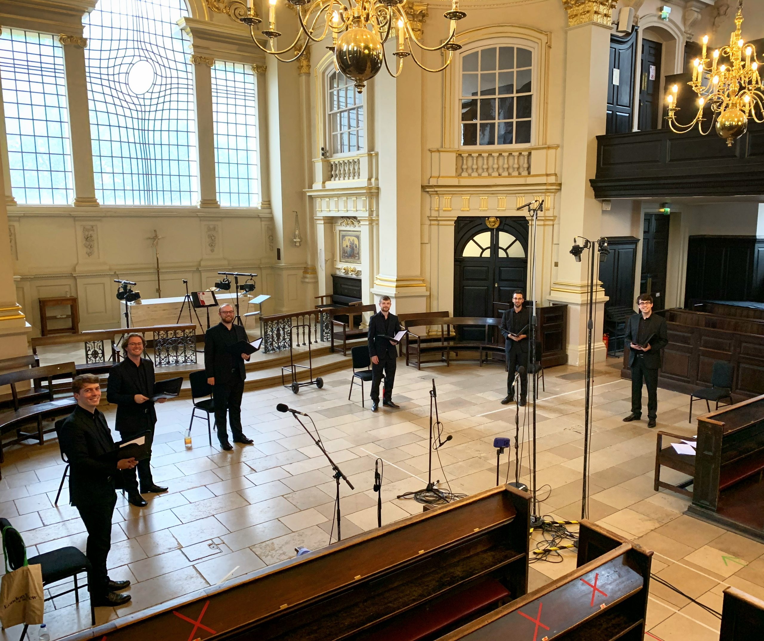 The team at St. Martin-in-the-fields, ready for perform Live on BBC Radio 3's Choral Evensong.